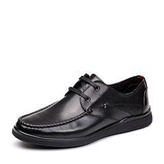 Teenmix/天美意2018春专柜同款黑色牛皮商务风系带鞋男单鞋2ET01AM8