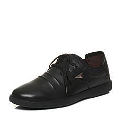 Teenmix/天美意2018春专柜同款黑色牛皮平跟系带鞋男休闲鞋66Q01AM8