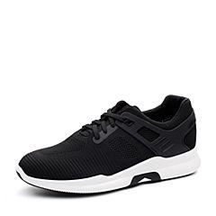 Teenmix/天美意2018春专柜同款黑色布舒适平跟系带鞋男休闲鞋65C01AM8