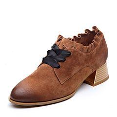 Teenmix/天美意2018春专柜同款棕色羊绒皮粗跟系带鞋女单鞋CB721AM8