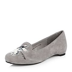 Teenmix/天美意2018春专柜同款灰/白色羊绒皮卡通浅口女休闲鞋6UK23AQ8