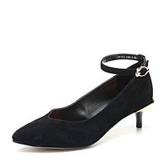 Teenmix/天美意2018春专柜同款黑色羊绒皮尖头猫跟鞋女单鞋CBY02AQ8