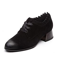 Teenmix/天美意2018春专柜同款黑色羊绒皮粗跟系带鞋女单鞋CB721AM8