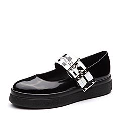 Teenmix/天美意2018春专柜同款黑色光面小牛皮卡乐鞋女单鞋CCF04AQ8