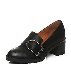 Teenmix/天美意2018春专柜同款黑色珠光牛皮粗跟乐福鞋女单鞋6V803AQ8