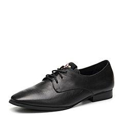 Teenmix/天美意2018春专柜同款黑色牛皮绣花方跟系带鞋女单鞋CCM20AM8