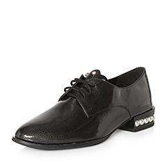 Teenmix/天美意2018春专柜同款黑色珠光漆皮牛皮系带鞋女单鞋CCV20AM8