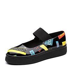 Teenmix/天美意2018春专柜同款黑色漆皮撞色厚底浅口女单鞋CCF01AQ8