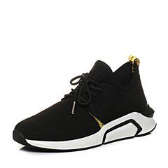 Teenmix/天美意2018春专柜同款黑色织物/牛皮系带鞋男休闲鞋2FS01AM8