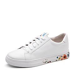 Teenmix/天美意2018春专柜同款白色牛皮印花系带鞋女休闲鞋6U537AM8