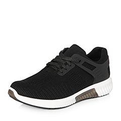 Teenmix/天美意2018春专柜同款黑色布平跟街头风系带鞋女休闲鞋CB421AM8