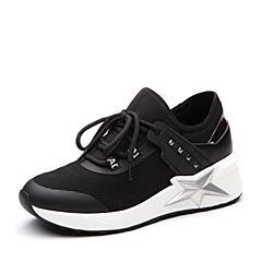 Teenmix/天美意2018春专柜同款黑色网布厚底系带鞋女休闲鞋CB922AM8