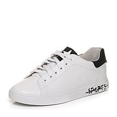 Teenmix/天美意2018春专柜同款白/黑色牛皮撞色系带鞋女休闲鞋6W724AM8