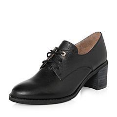 Teenmix/天美意2018春专柜同款黑色牛皮粗跟系带鞋女单鞋6U222AM8