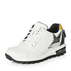 Teenmix/天美意2018春专柜同款白/银色移膜牛皮厚底女休闲鞋6T930AM8