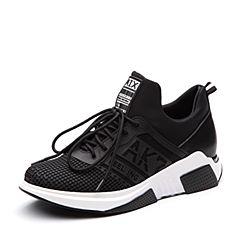 Teenmix/天美意2018春专柜同款黑色布厚底运动风女休闲鞋女鞋CCW23AM8