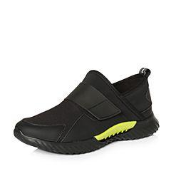 Teenmix/天美意2018春专柜同款黑色街头风舒适平跟男休闲鞋BHQ23AM8