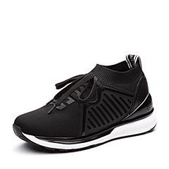 Teenmix/天美意2018春专柜同款黑色布厚底街头风女休闲鞋女鞋CB321AM8