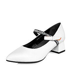 Teenmix/天美意2018春专柜同款白/桔红色绵羊皮粗跟玛丽珍鞋女单鞋6B608AQ8