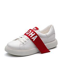 Teenmix/天美意2018春专柜同款白色牛皮字母系带鞋女休闲鞋CC220AM8
