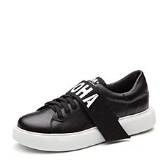 Teenmix/天美意2018春专柜同款黑色牛皮字母系带鞋女休闲鞋CC220AM8