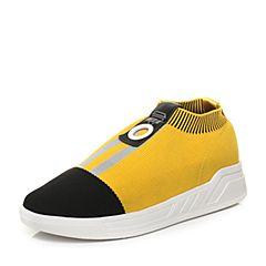 Teenmix/天美意2018春专柜同款黑/灰色布撞色街头风平跟女休闲鞋CB223AM8