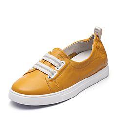 Teenmix/天美意2018春专柜同款黄色牛皮革条纹松紧带女休闲鞋6W701AQ8
