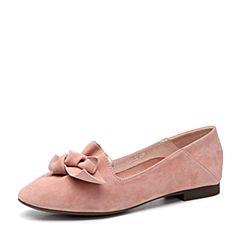 Teenmix/天美意2018春专柜同款粉色羊绒皮方跟穆勒鞋女单鞋AQ681AQ8