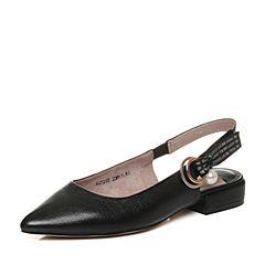 Teenmix/天美意2018春专柜同款黑色牛皮珠饰方跟后空女凉鞋AQ721AH8
