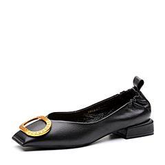 Teenmix/天美意2018春专柜同款黑色牛皮金属扣方跟浅口女单鞋AQ771AQ8