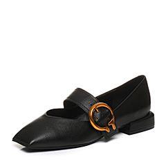 Teenmix/天美意2018春专柜同款黑色牛皮金属扣玛丽珍鞋女单鞋AQ761AQ8