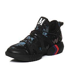 Teenmix/天美意2018春专柜同款黑/蓝色潮酷街头风平跟女休闲鞋AQ801AM8
