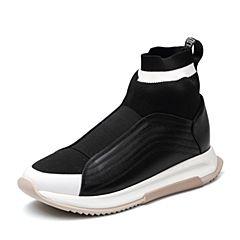 Teenmix/天美意2018春专柜同款黑/白色牛皮/纺织品潮酷袜筒靴女短靴POLIMODA【批判】CCZ43AD8