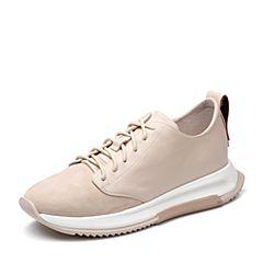 Teenmix/天美意2018春专柜同款米白/红色牛皮/羊皮女休闲鞋POLIMODA【释放】CCZ21AM8