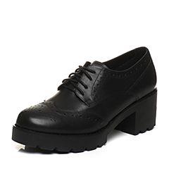 Teenmix/天美意2018春黑色牛皮英伦风优雅粗跟系带鞋女单鞋CCI22AM8