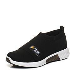 Teenmix/天美意2018春黑色字母厚底中性风街头风女休闲鞋CB424AM8