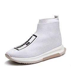 Teenmix/天美意2018春专柜同款白色布字母运动风袜筒靴女短靴POLIMODA【憧憬】CCZ42AD8