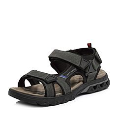 Teenmix/天美意2018夏专柜同款黑色磨砂牛皮革/纺织品平跟男凉鞋67N01BL8