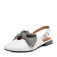 Teenmix/天美意2018春专柜同款白/灰绿色牛皮/纺织品蝴蝶结后空女凉鞋CDZ31AH8