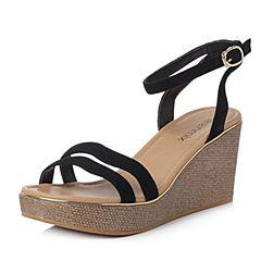 Teenmix/天美意2018夏专柜同款黑色羊绒皮一字式坡跟女凉鞋CC404BL8