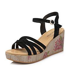 Teenmix/天美意夏專柜同款黑色羊絨皮革多條帶印花坡跟女涼鞋CC403BL8