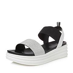 Teenmix/天美意2018夏专柜同款白/银色简约一字带厚底女凉鞋CD301BL8