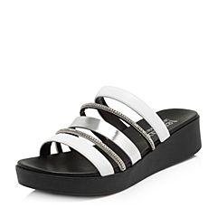 Teenmix/天美意夏專柜同款白/銀色鉆飾多條帶厚底女拖鞋6Z905BT8