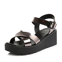 Teenmix/天美意2018夏专柜同款灰银色简约通勤风坡跟女凉鞋CDD02BL8