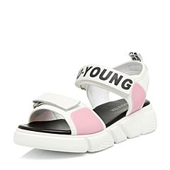 Teenmix/天美意2018夏专柜同款白/粉色时尚字母厚底休闲风女凉鞋AR281BL8