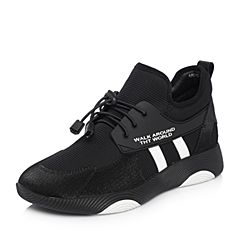 Teenmix/天美意2018春专柜同款黑色撞色厚底运动风女休闲鞋AR221AM8