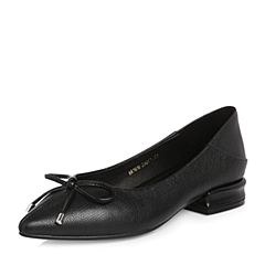 Teenmix/天美意2018春专柜同款黑色牛皮蝴蝶结方跟浅口女单鞋AR161AQ8