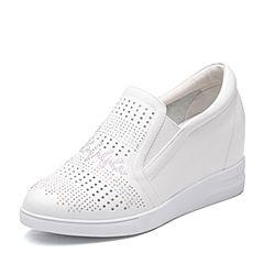 Teenmix/天美意2018春专柜同款白色牛皮钻饰乐福鞋女休闲鞋AR321AM8