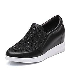 Teenmix/天美意2018春专柜同款黑色牛皮/织物乐福鞋女休闲鞋AR331AM8