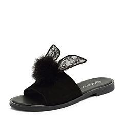 Teenmix/天美意2018夏专柜同款黑色毛球蕾丝兔耳方跟女拖鞋AR381BT8